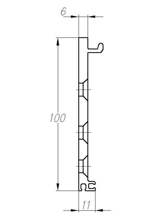 Монтажная пластина 6250мм анодированная Е6/С0 25505102120. DOR2078