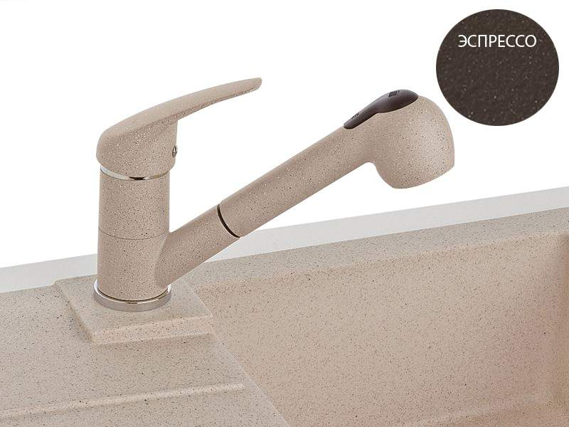 Смеситель Alveus АМ20-PS, выдвижной шланг, душ, эспрессо. KVL1021.57M