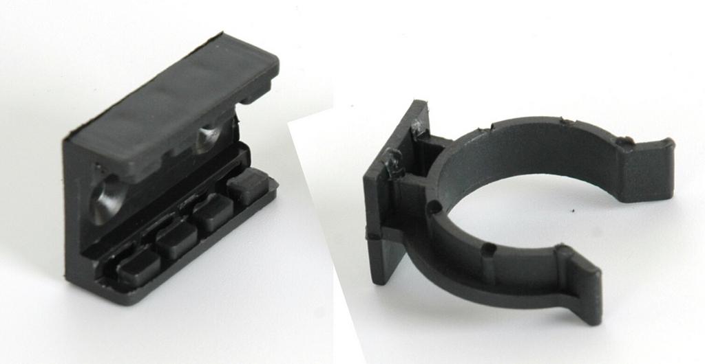 Клипса FIRMAX усиленная для цоколя из ДСП черный пластик 2 части