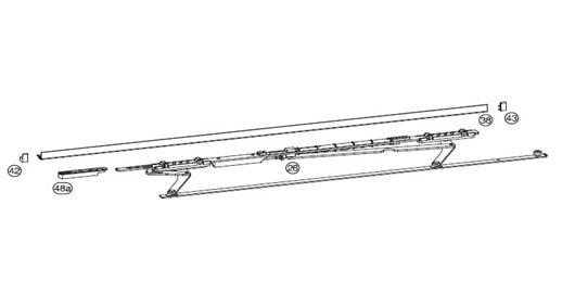 Ножницы+направляющая на створке HAUTAU SP 1251-1650 левая , цвет белый