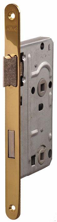104/WC/OV/L 18мм Замок для деревянных дверей овальный , защелка пластик,  латунь полированная