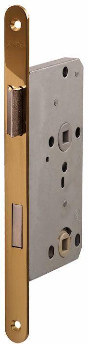104/WC/OV/R 18мм Замок для деревянных дверей овальный , защелка пластик,  латунь полированная